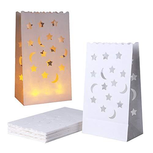 JAHEMU Bolsas para Velas Candle Bags Bolsas de luz Linternas de Papel Blanco Decorados para fiestas 20 pieza (Diseño de luna y estrellas)