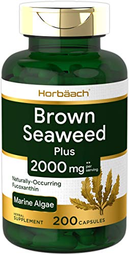 Brown Seaweed Extract Capsules 2000mg   200 Pills   Fucoxanthin Supplement   Non-GMO, Gluten Free   by Horbaach