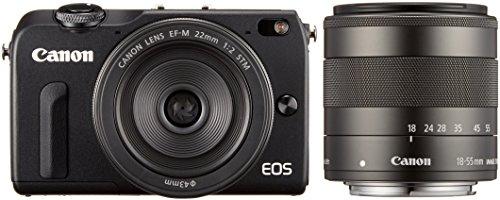 Canon ミラーレス一眼カメラ EOS M2 ダブルレンズキット(ブラック) EF-M18-55mm F3.5-5.6 IS STM EF-M22mm ...