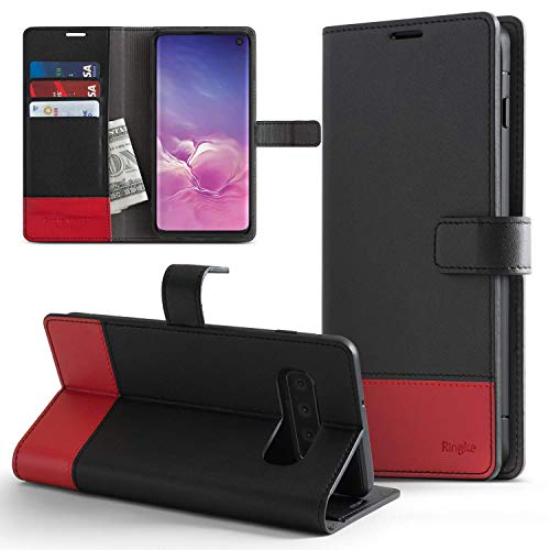 """Ringke Wallet Designed for Galaxy S10 (6.1"""") Wallet Case (Premium PU Leather with Magnet Clasp) Durable Flip Kickstand TPU Interior Bumper Drop Protective Phone Cover for Galaxy S10 - Black & Red"""