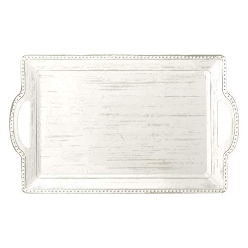 Zak Designs French Country House Melamine Serving Tray, Durable and BPA Free (21 inches, Lavage Oyster)