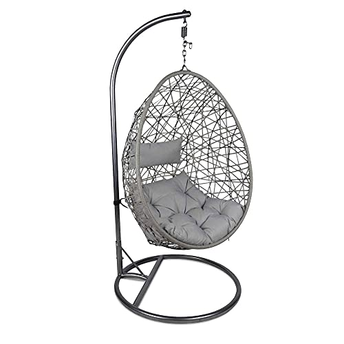 Ariana Hanging Rattan Egg Swing Chair | Single Cushioned Garden Swing Seat For Patios, Decking, Balcony | Grey Or White Outdoor Furniture (Grey)