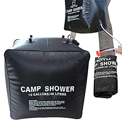 SWISH Solar Power Camping Shower/Portable 10 gallons 40L Shower Bag (Black, 40L)