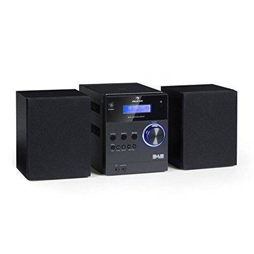 AUNA MC-20 DAB - Mini Impianto Stereo Hi Fi, Sintonizzatore Radio DAB+, Connessione Bluetooth, lettore CD top loading, Altoparlanti bassreflex, 2x5W, LCD, Telecomando, Nero