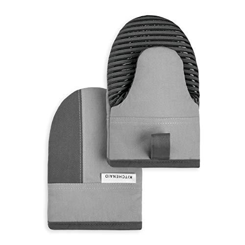 """KitchenAid Kitchen Aid Beacon Mini Oven Mitt Set, 5.5""""x8"""", Cool Grey/Contour Silver"""