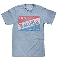 YOUR FAVORITE NEW CANDY SHIRT WITH A COOL RETRO LOOK: Enjoy the nostalgia of the classic Topps Bazooka Bubble Gum logo, lightly distressed and printed on the softest light blue heather tee we could find. FUN GIFT FOR THE 80s FAN IN YOUR LIFE: Screen ...