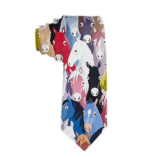 Corbata de tela con patrón de la infancia de caballos de dibujos animados coloridos para hombre, traje de fiesta Formal, corbata de regalo única