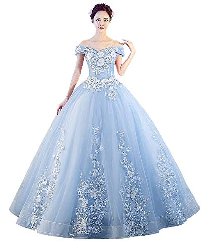 LEJY Women's Off The Shoulder Dress Masquerade Ball Gowns Prom Dress