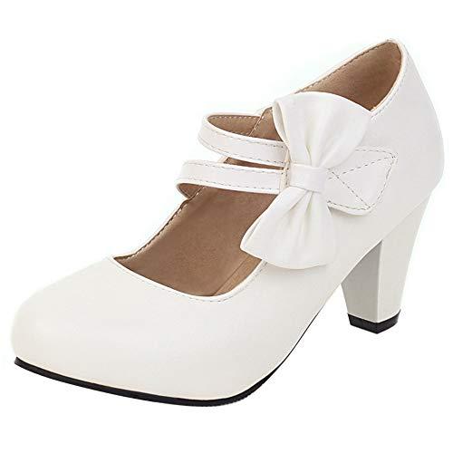 Garggi Damen Kleid Hohen Trichterabsatz Party Bogen Mary Jane Pumps Schuhe Elegant Kleid Pumps Weiß Gr 39 Asiatisch