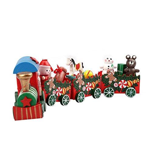 ASHOP Navidad Tren Juguete Regalo Madera Rojo 4 Piezas Mini para Bebé (Rojo Dos)