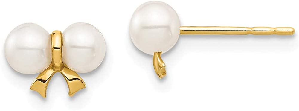14k Yellow Gold 4mm White Round Freshwater Cultured Pearl Bow Post Stud Earrings Ball Button Fine Jewelry For Women Gifts For Her