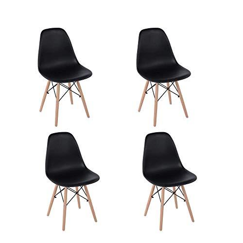 HOMEMAKE FURNITURE Juego de 4 sillas de comedor de estilo moderno premontadas Silla de Eames moderna de mediados de siglo, silla de plástico Shell Lounge para cocina, comedor, dormitorio, sillas de salón Neg