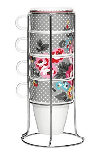 Premier Pippa Juego de 4 Cuencos Apilables Supin con Metal, New Porcelana y Acero Inoxidable, Multicolor