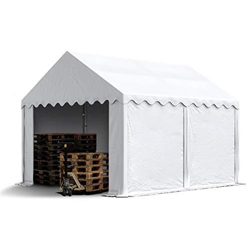 TOOLPORT Lagerzelt 3x4 m Zelthalle Unterstand Weidezelt ca. 500g/m² PVC Plane wasserdicht in weiß