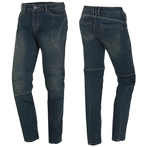 Germot Damen Motorrad-Jeans Mary, herausnehmbare Knie-Protektoren, Slim Fit, blau, Gr. 34/32