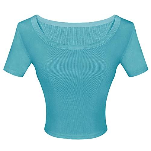 HLH Scollo Rotondo Croptop Ragazza Bambina Manica Corta Crop T Shirt Blu T Shirt Corta Donna Ombelico