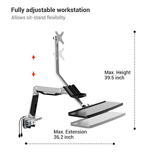 Loctek Height-Adjustable S2M Sit Stand Mount, Standing Mount, Sit to Stand Workstation, Monitor and Keyboard Mount, Fits 10-30 inches 19, 20, 21, 22, 23, 24, 27, 30 inches Monitors