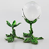 Beautiful crystal ball 水晶ガラスレンズボールのための金属のフラワーディスプレイスタンド60 70 80ミリメートルの占い写真レンズボールベースマジック球地球ホルダー (Color : L fits 80 90mm ball)