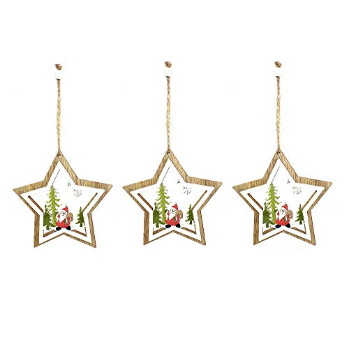Anjing 3Pcs Christmas Decorations Laser Hollow Wooden Bells Five-Pointed Star Santa Claus Christmas Tree Ornaments Ornaments