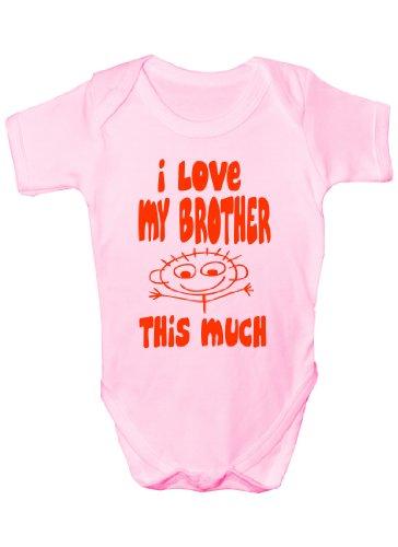 I Love My Brother This Much Cadeau humoristique Body bébé fille/garçon Sans manches pour bébés - Rose -