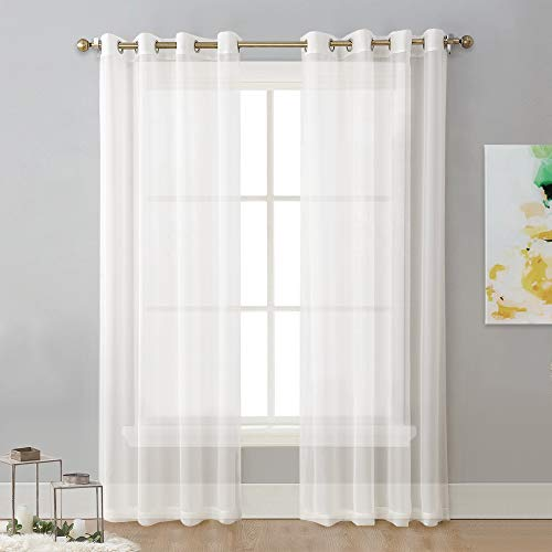 NICETOWN Sheer Curtain Panels Ivory - Eyelet Top Solid Voile for Kitchen/Hotel, Off White=Ivory, 2 Pieces, 54 Wide x 84-inch Length, Ivory
