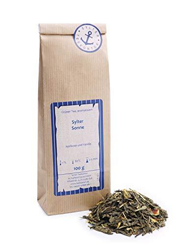 Grüner Tee lose Grüner Tee Sylter Sonne Orangen, Ringelblumen Grüntee Aprikose und Vanille 100g