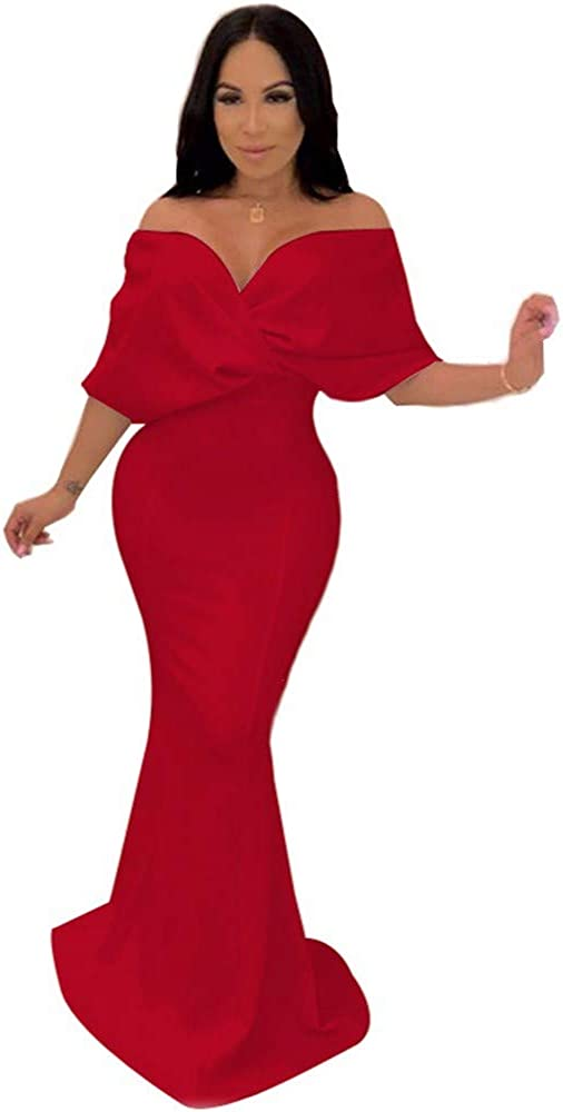 Women's Dresses Sexy Off The Shoulder Deep V Backless Long Skirt Fashion Cocktail Night Club Party No Zip Dress Red