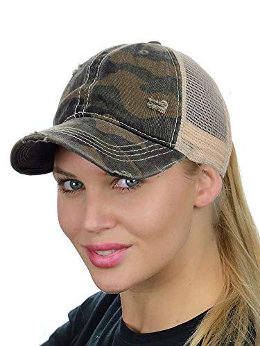 C.C Ponycap Messy High Bun Ponytail Adjustable Mesh Trucker Baseball Cap Hat, Camo Olive