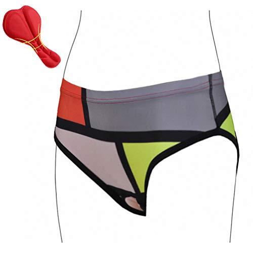 Hihey Radunterhose Damen Fahrradunterwäsche 3D gepolsterte Bike Panties Shockproof Underwear für Radfahren Reiten Tour(D/L)
