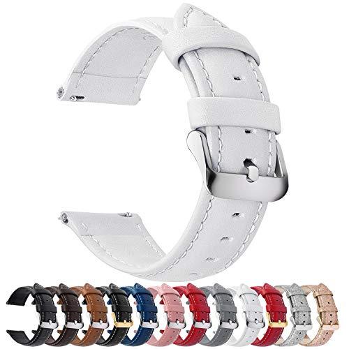 Fullmosa Axus Correa Piel, 12 Colores para Correa Reloj, Huawei Samsung Correa/Banda/Pulsera/Strap 14mm 16mm 18mm 19mm 20mm 22mm 24mm, Blanco + Hebilla de Plata, 20mm