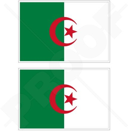 Algerien Algier Algerische Flagge 7,6cm (75mm) Bumper Sticker, Aufkleber Vinyl X2