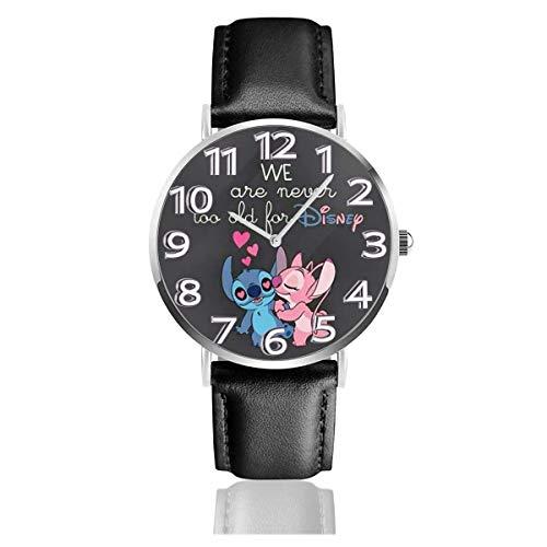 Stitch Reloj de Pulsera de Cuero analógico de Cuarzo Easy Reader Unisex