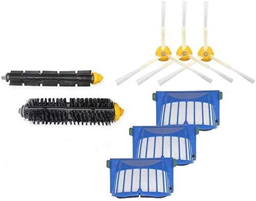 YBINGA Partes de aspirador pieza de repuesto 3 filtro 3 cepillo lateral 1 cepillo de cerdas accesorio para iRobot Roomba 600 610 620 650 serie barrido robot Accesorios de repuesto Partes de aspirador