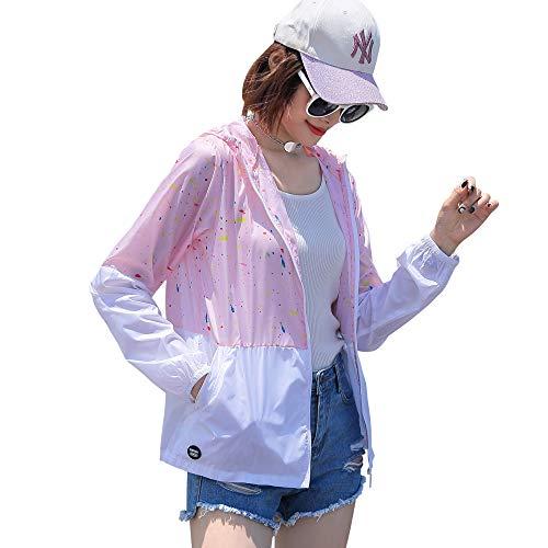 Sidiou Group Indumenti di Protezione Solare Giacca Anti UV UPF50+ Cappotto Pelle Antivento Impermeabile Giacche Asciutta Rapida Giacca da Corsa Pesca Ciclismo Giacca a Vento Leggera (1472 Rosa, XL)