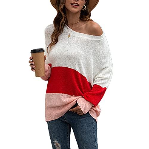 XYJD Primavera E L'Estate Casual da Donna A Maniche Lunghe Girocollo A Righe Cuciture Senza Spalline Maglione Sciolto Top Pullo