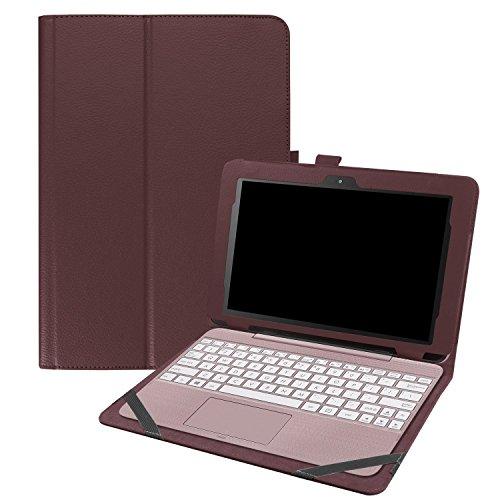 asng ASUS Transformer Book t101ha Tasche, Premium PU Leder Portfolio Schutzhülle mit Ständer für ASUS Transformer Book t101ha-c4-gr 25,7cm 2in 1Touchscreen Laptop Braun