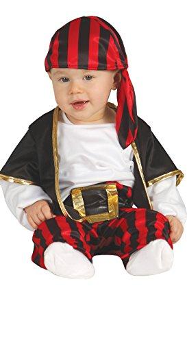 Guirca- Corsaro Costume Baby Pirata Neonato, Nero, Bianco e Rosso, 6-12 mesi, 85560