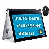 "Flagship Acer Spin 311 2 in 1 Chromebook Laptop 11.6"" HD IPS Touchscreen MediaTek MT8183 Octa-Core Processor 4GB RAM 32GB eMMC + 128GB SD Card USB-C Bluetooth WiFi Win10 + iCarp Wireless Mouse"