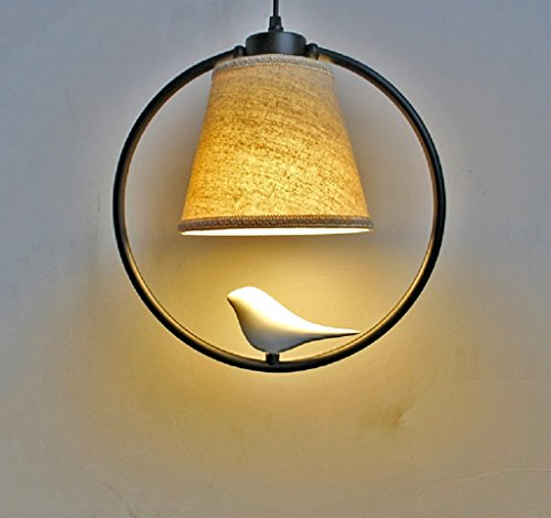 $éclairage Lampe pendentif oiseau moderne/Restaurant / Bar/Balcon / Allée/Hall / Entrée Creative Personnalité unique lampe frontale lumières intérieures (Couleur : Noir-Lumière chaude)