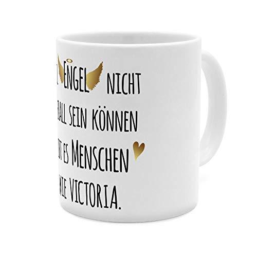 printplanet Tasse mit Namen Victoria - Motiv Engel überall - Namenstasse, Kaffeebecher, Mug, Becher, Kaffeetasse - Farbe Weiß