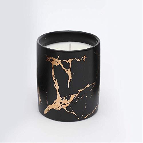 ZXZH Aroma Die Kerze Pflanze Wachs Marmor Keramik Pflanzenduft Kokoswachs Rauchlose Aroma-aveins Edith Kerze Weißer Jasmin und Minze