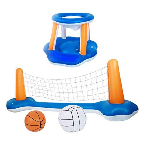 Shhjjyp Juego de flotador inflable para piscina, red de voleibol y pelotas de baloncesto incluidas para niños y adultos, juguete de natación, flotación, flotadores de verano, cancha de voleibol
