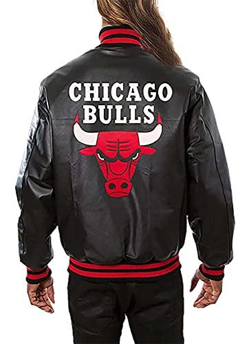 PJapparel Chicago Red Bulls Bomber Chaqueta Mujer, Piel auténtica de color negro., XXL