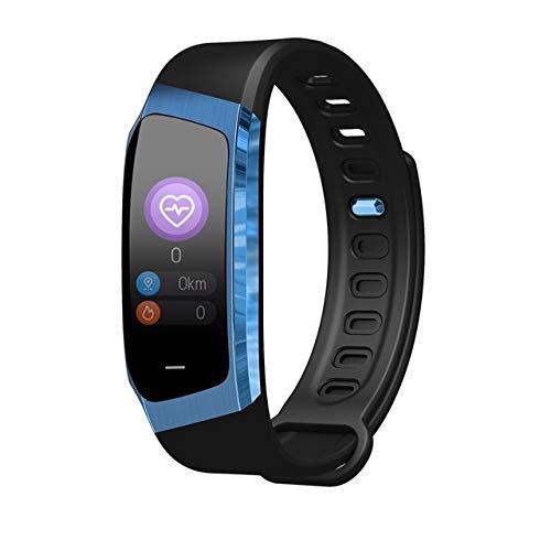 Luoya E18 Montre Intelligente Sport Hommes Montre-pulsera Fitness Tracker Montre Intelligente Teléphone Bluetooth Femmes Montre Intelligente, Negro y azul.