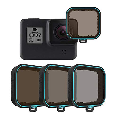 TELESIN Filtro de lente GoPro, paquete de 4 unidades ND4,ND8,ND16,CPL kit de filtro de lente de densidad neutra para GoPro Hero 7 Black Hero 2018 Hero 6 Hero 5 negro, accesorios para lentes de cámara