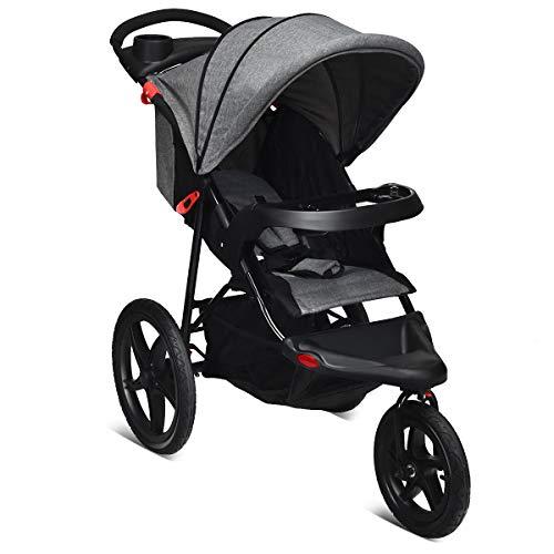 COSTWAY Triciclo con Función Reclinable Cochecito Plegable para Bebé Silla de Paseo Ligera con Cinturón de Seguridad 5 Puntos para Niños de 6 a 36 Meses (Gris)