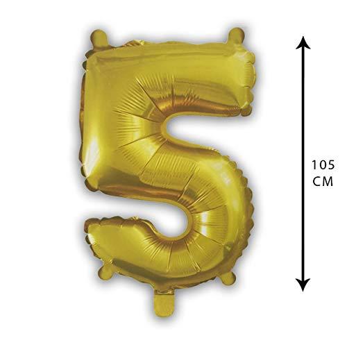 PARTY Globo Número Gigante en Color Dorado Metalizado Ideal para Fiesta de cumpleaños y Aniversarios - 105 cm - 40 Pulgadas - Hinchable - Tamaño Grande (5)