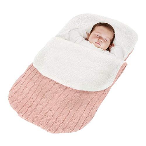 Minetom Kinderwagen Baby Schlafsack Stricken Winter Buggy Babyschale Winterfußsack Weich Warmes Plüsch Draussen Fußsack Babydecke Footmuff Rosa 38 * 68 cm