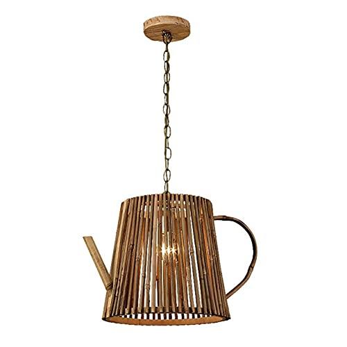 Chino hecho a mano tetera de bambú colgando lámpara accesorios vintage decoración para el hogar techo colgando luces comedor lujurto accesorios loft cafetería restaurante restaurio suspensión linterna