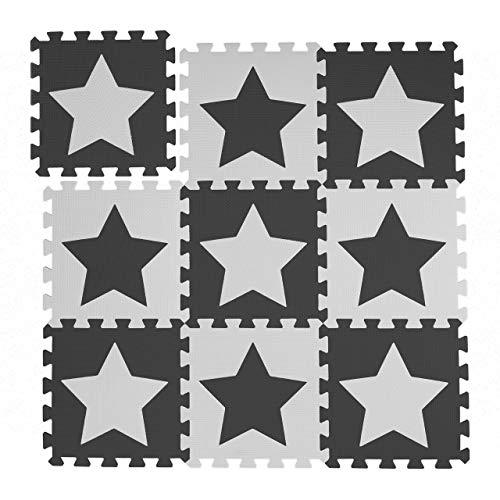 Relaxdays Puzzlematte Sterne, 9er Set, 18 Teile, EVA Schaumstoff, schadstofffrei, Spielunterlage 91 x 91 cm, weiß-grau